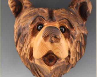 Large Chainsaw Carved Bear Head