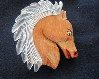 lucite and wood horse pin brooch vintage lucite pin