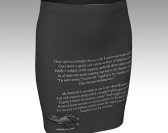 Edgar Allen Poe Body Con skirt, Tube skirt, Literary Skirts, Skirt, The Raven, Rooby Lane
