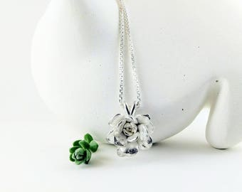 Rose Necklace, Sterling Silver, Succulent Rose Necklace
