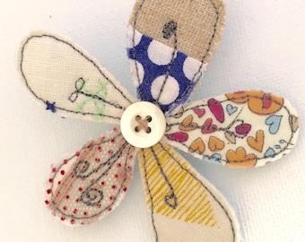Scrappy vintage fabric flower brooch