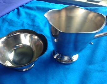 Sugar Bowl and Creamer Reed and Barton Stainless Steel Vintage Serving Pieces Wedding Shower Housewarming Home Decor Gift