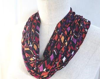 SALE Stretch Jersey Infinity Scarf. Black Multicolor Geometric Print.