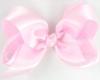 Satin hair bow - light pink hair bow, girls hair bows, 4 inch hair bows, big hair bows, boutique bows, large hair bows, girl hair bows silk