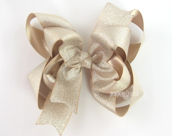 "Light Gold Hair Bow, 5"" gold hair bow, girls hair bow, extra large metallic hair bows, 5 inch baby hair bow, big gold hair bow, double layer"