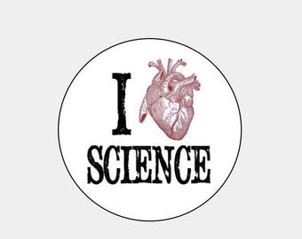 I Heart Science- White round labels/seals  Anatomical Heart- science geek
