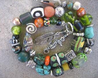 15%off AFRICAN TRADE BEAD bracelet bold boho necklace sterling beads