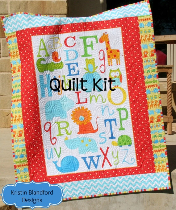 Last one abc safari quilt kit panel baby toddler bedding studio e last one abc safari quilt kit panel baby toddler bedding studio e letters zoo animals giraffe lion whale blue blanket diy do it yourself from solutioingenieria Images