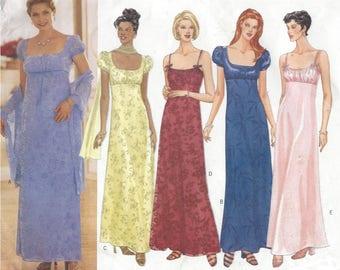 90s Womens Josephine Evening Gown Empire Waist Scooped Neckline Butterick Sewing Pattern 5830 Size 12 14 16 Bust 34 36 38 UnCut