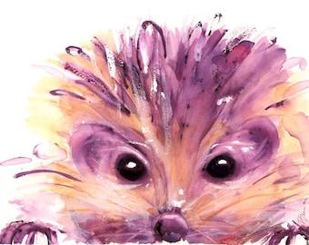 Hedgehog Art Print,  12 x 16 Hedgehog Watercolor Art, Children's Decor