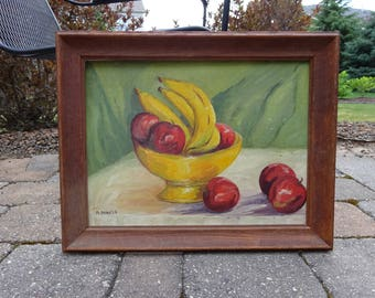 Mid Century Original 1960's Still Life Oil Painting of fruit signed by artist Daniels
