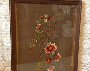 ON SALE Vintage Embroidery Wall Hanging