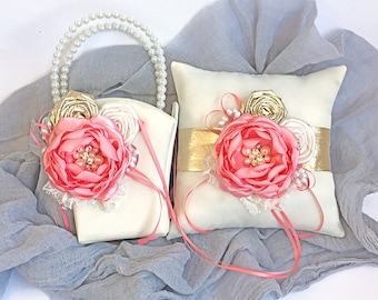 Flower Girl Basket and Ring Pillow Set- Handmade Satin Coral, Ivory and Metallic Gold Flower and Roses - Embellished with Crystal & Pearls