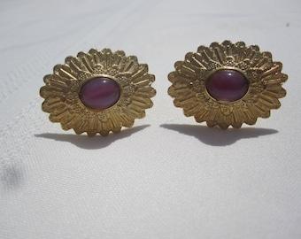 Goldtone Avon Cufflinks with Pink Stone