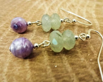 Prehnite Earrings, Stone and Pearl, Green and Lavender, Prehnite Jewelry, Gemstone Earrings, Green gemstone, Pastel Earrings, Gift for Wife
