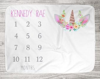 "FREE US SHIPPING Milestone Photo Blanket // Fleece or Minky  34"" x 52"" // Newborn Photo Blanket // Unicorn Floral Crown // Rainbow Baby"