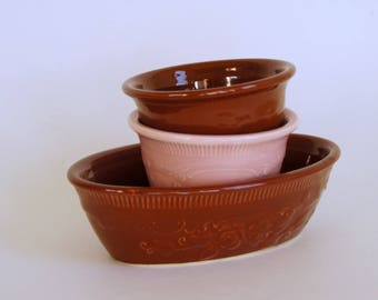 Vintage Oven Serve, Pink Custard Cup, Brown Ceramic Bowls, Homer Laughlin OvenServe