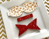 READY to SHIP Wool Felt 2.5 inch chunky bow  DIY pizza with red glitter tail and center Set of 2