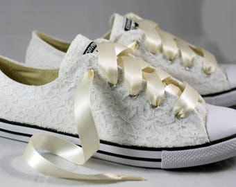 Ivory Lace Wedding Converse - Ready to ship Ivory Lace Bridal Converses --Ivory Lace Converse -- Wedding Tennis shoes