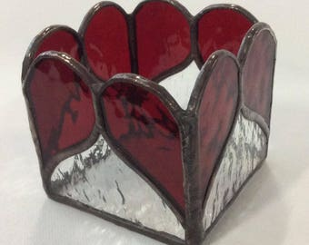 red heart candle holder