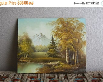 20% off for summer vintage landscape painting mountains lake and trees - signed, painted on wood
