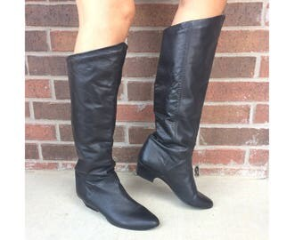 vtg 80s KNEE HIGH black leather Pirate BOOTS 10 tall riding heels slouchy flat