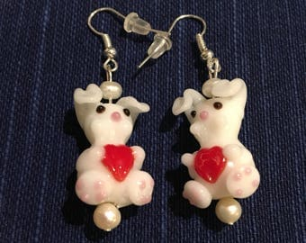 Bunny earrings with hearts