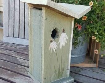 Antique Garden decor,Rustic birdhouse,primitive wooden birdhouse,garden decor,outdoor birdhouse,French country decor,whimsical,sage green