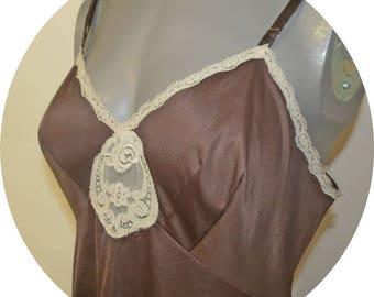 Vintage Brown Nylon Slip Vanity Fair  Size 36  #015