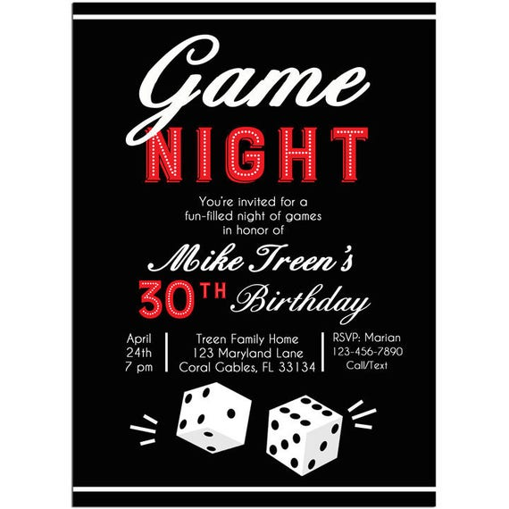Game Night Invitation Printable Or Printed With FREE SHIPPING