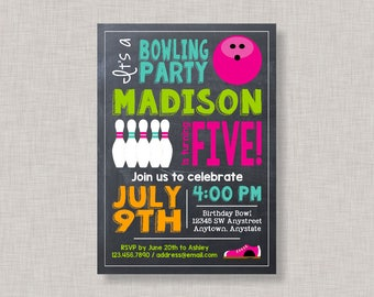 Bowling Birthday Invitation, Bowling Party Invitation, Bowling Party, Bowling Invitation, Chalkboard, Sisters, Joint Bowling Party, Girl