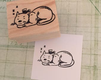Sleeping Kitty  Rubber Stamp
