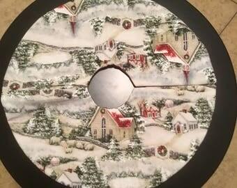 Snowy Winter Scene Tabletop Tree Skirt