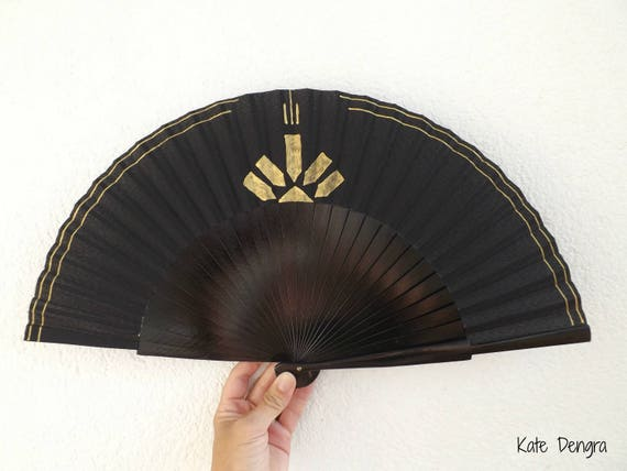 Black Gold Hand Fan Art Deco Bling 27cm