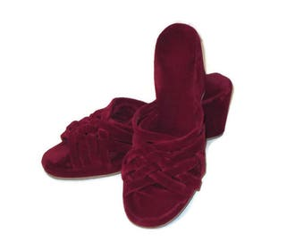 60s Velvet Mules Maroon House Shoes Burgundy Mules 1960s Wine Slippers Wedge Heel House Slippers Velvet Slides Velour Slippers