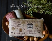 NeW! PLUM STREET SAMPLERS Sampler Lesson Three counted cross stitch patterns at thecottageneedle.com Mother's Day Spring