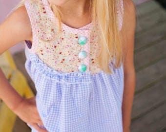 Sleeveless Swing Top, Dress, Gingham, Ruffle, Lavender, Spring Floral, Farrah | Baby, Toddler, Girl | Free Shipping