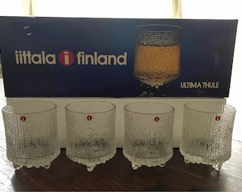 Ultimate Thule Iittala Finland Icy Handblown Cocktail Glass Set New Old Stock MCM 7oz 20 CL Bar Glasses