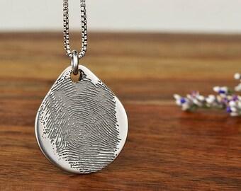 Fingerprint Teardrop Pendant Necklace, Fingerprint Jewelry, Thumbprint Necklace, Custom Necklace, Unique Anniversary Gift