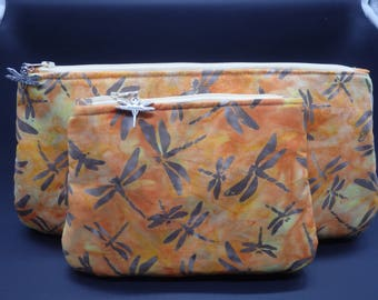 Dragonfly Pouch, Batik Makeup Bag, Peach Toiletry Bag, Cosmetics Clutch, Travel Bag, Go Bag, Gifts for Her, Zippered Pouch, Nature Bags
