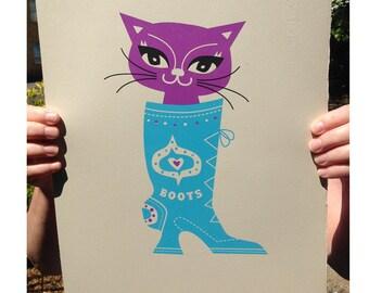 Puss in Boots Cat print - Purple cat Cats– Cat Lovers - Cat art print - Cat picture - Puss In boots