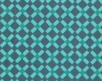 Liz Scott Fabric, Domestic Bliss by Liz Scott for Moda Fabrics, Check Lattice Aqua Teal, 18075-12