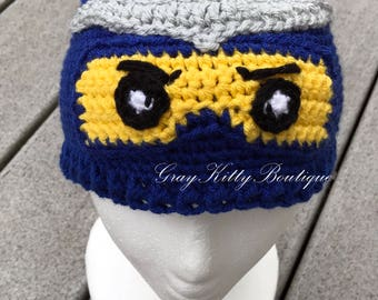Crochet Lego Ninjago Hat - Lego Ninjago Blue Hat - Lego Ninjago Halloween Costume - Size 4-6 Years Ready to ship