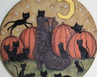 Witch's Boot with Thirteen Black Kittens Halloween Folk Art Primitive Painting on Wood Plate, Pumpkin Patch, Moon, Spider, MADE TO ORDER