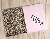 Monogrammed Minky Baby Blanket - Leopard / Cheetah Print Minky and Minky Dot - Personalized Gift Animal Print, Blanket with name Newborn