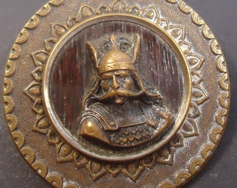 Antique Viking picture button converted into a brooch, Paris back - vintage jewellery  (Ref D235)