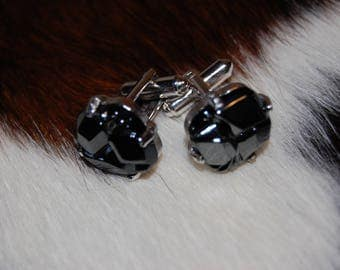 Sarah Coventry 1970's Vintage Cuff links Stainless Steel Black Molded Glass Sarah Coventry