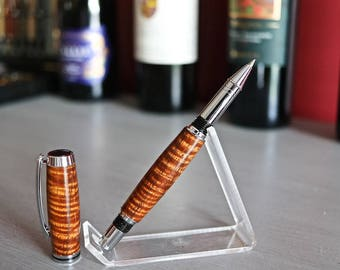 Curly Koa Rollerball Pen - Chrome