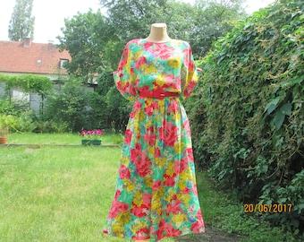 Long Full Dress / Full Dress / Dress Vintage / Floral Dress / Midi Dress / Summer Dress / Elastic Waist / Size EUR44 / UK16