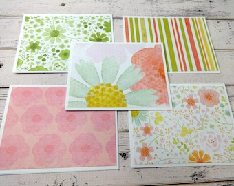 Note Card Set, Note Cards, Thank You Notes, Blank Cards, Set of 5 Note Cards with Matching Envelopes, Floral Note Cards, Soft Petals
